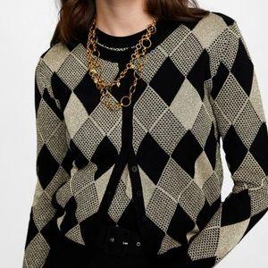 Zara Knit Metallic Thread Diamond Cardigan